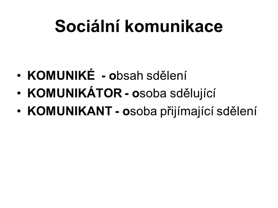 Sociální komunikace KOMUNIKÉ - obsah sdělení