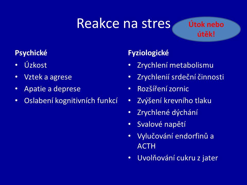 Reakce na stres Útok nebo útěk! Psychické Fyziologické Úzkost