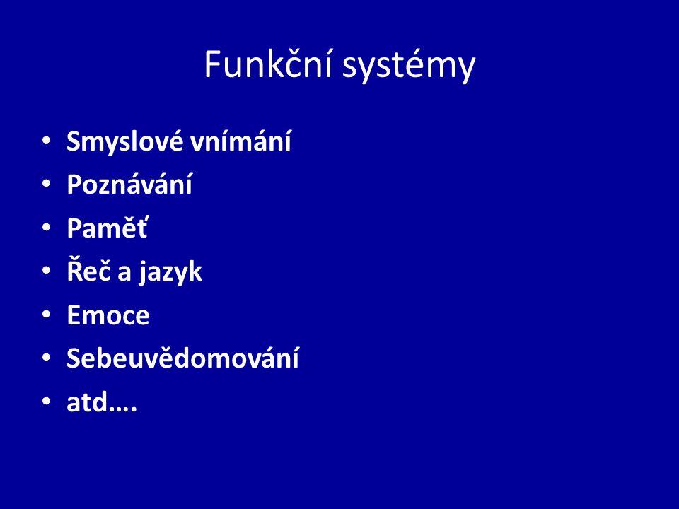 Funkční systémy Smyslové vnímání Poznávání Paměť Řeč a jazyk Emoce