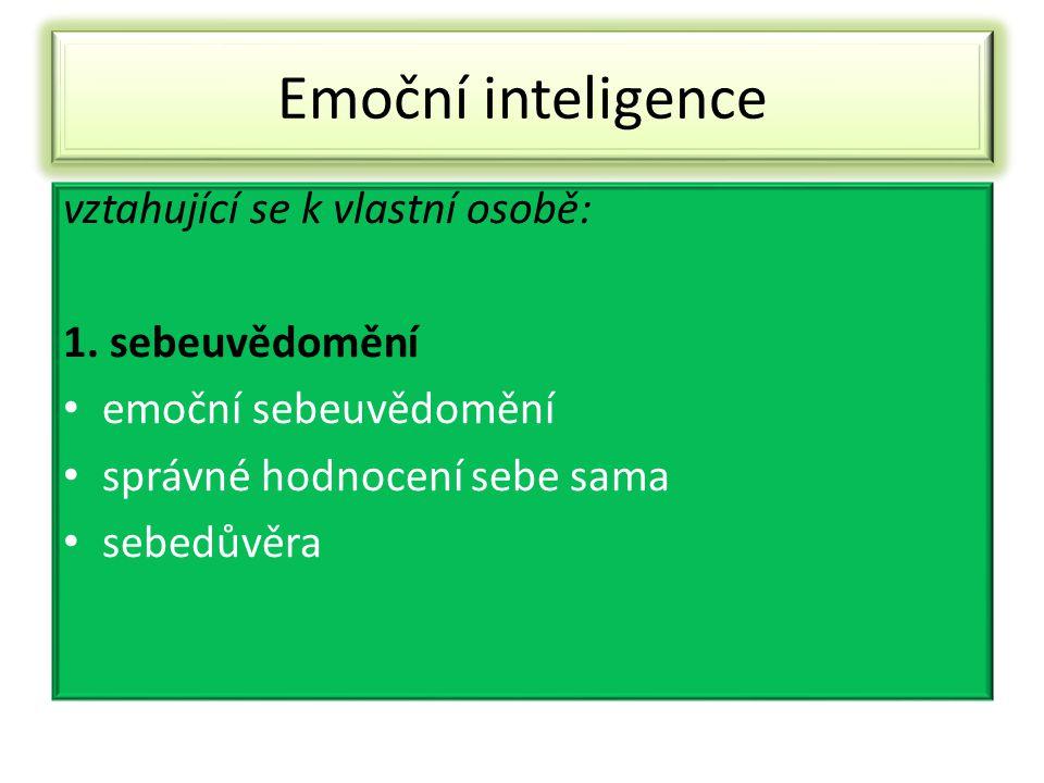Emoční inteligence vztahující se k vlastní osobě: 1. sebeuvědomění