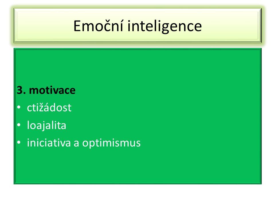 Emoční inteligence 3. motivace ctižádost loajalita