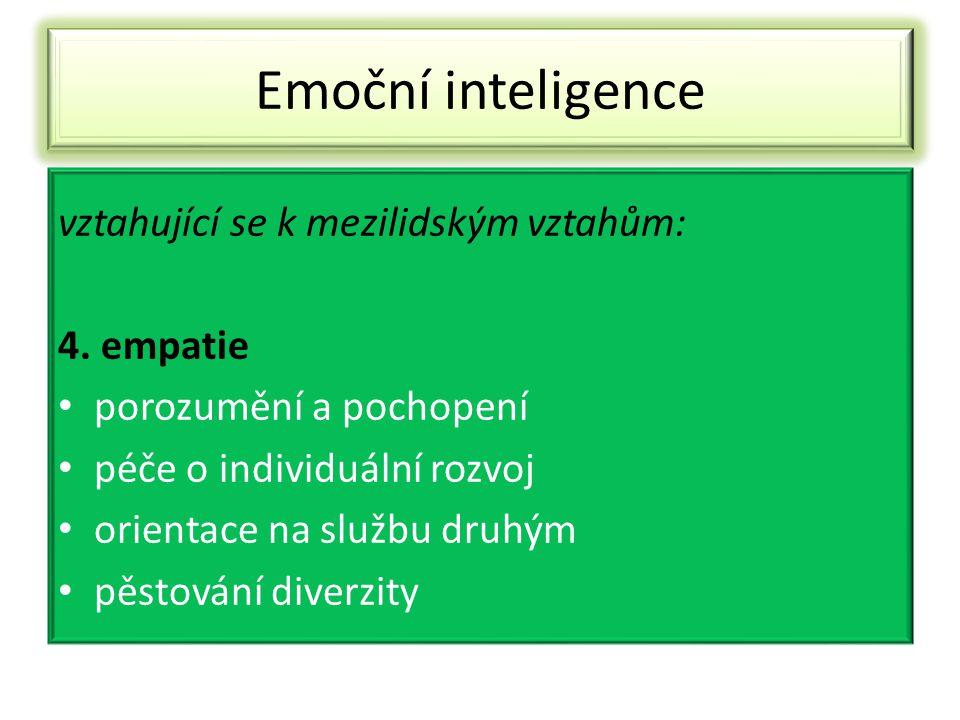 Emoční inteligence vztahující se k mezilidským vztahům: 4. empatie