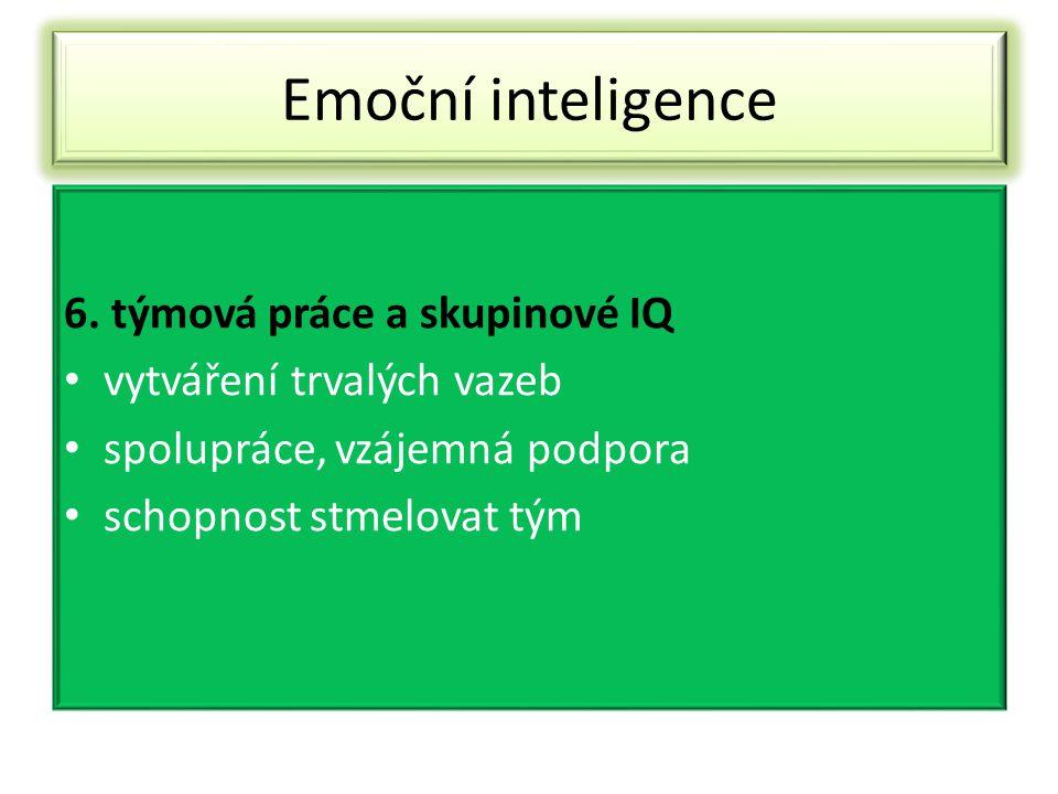 Emoční inteligence 6. týmová práce a skupinové IQ