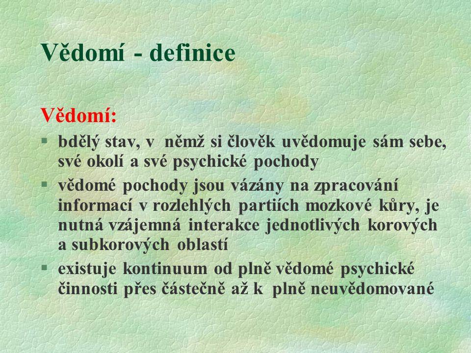 Vědomí - definice Vědomí: