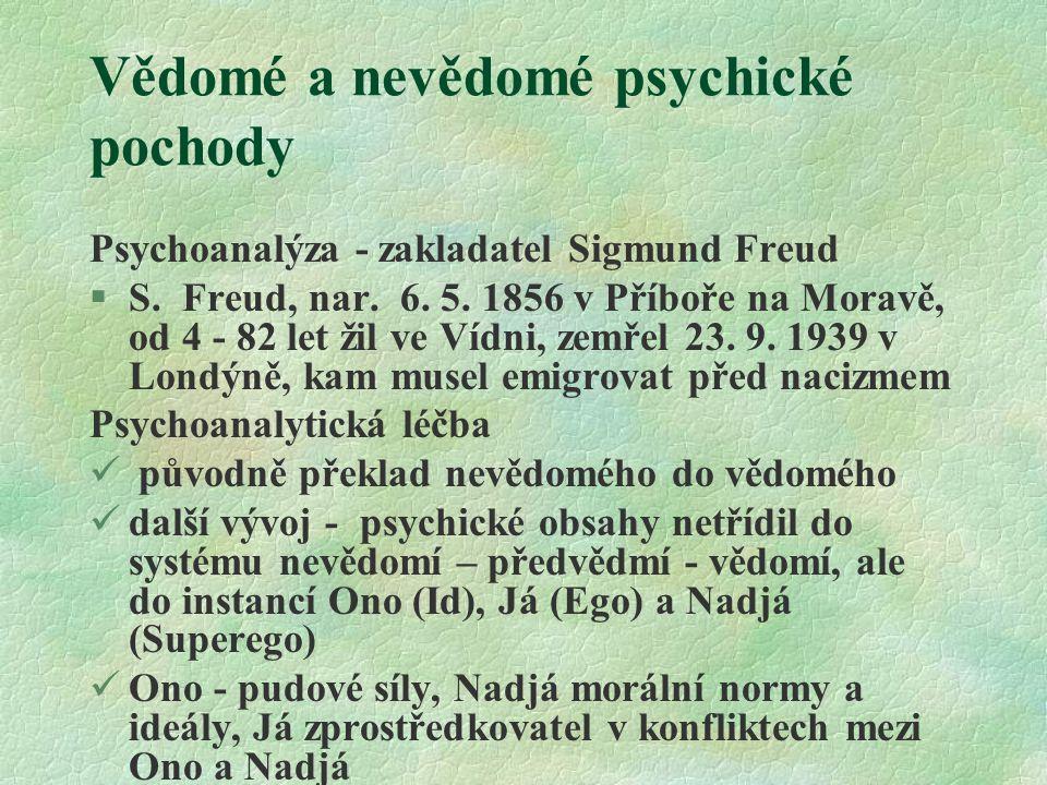Vědomé a nevědomé psychické pochody