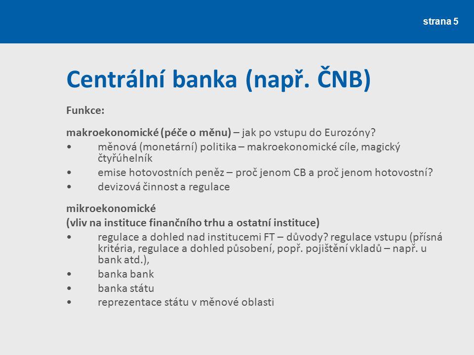 Centrální banka (např. ČNB)