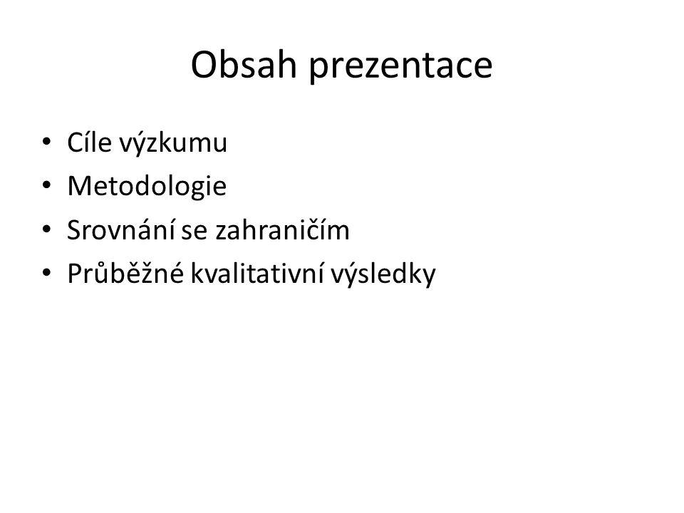 Obsah prezentace Cíle výzkumu Metodologie Srovnání se zahraničím