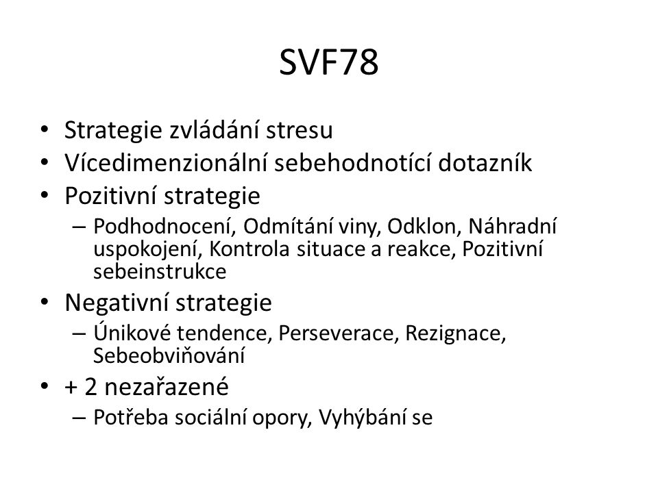 SVF78 Strategie zvládání stresu