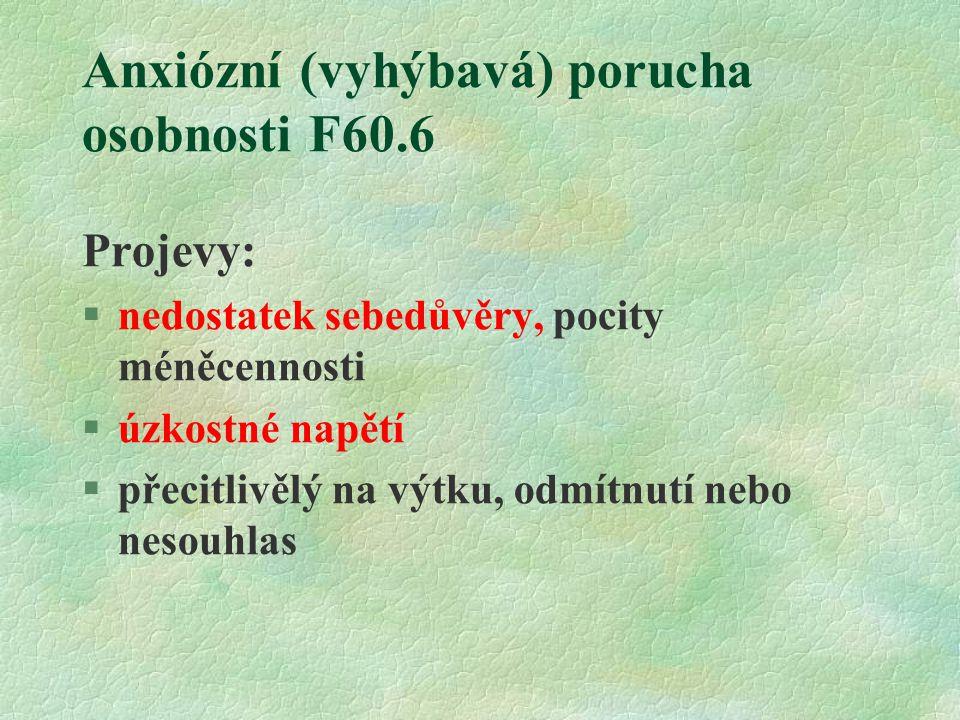 Anxiózní (vyhýbavá) porucha osobnosti F60.6