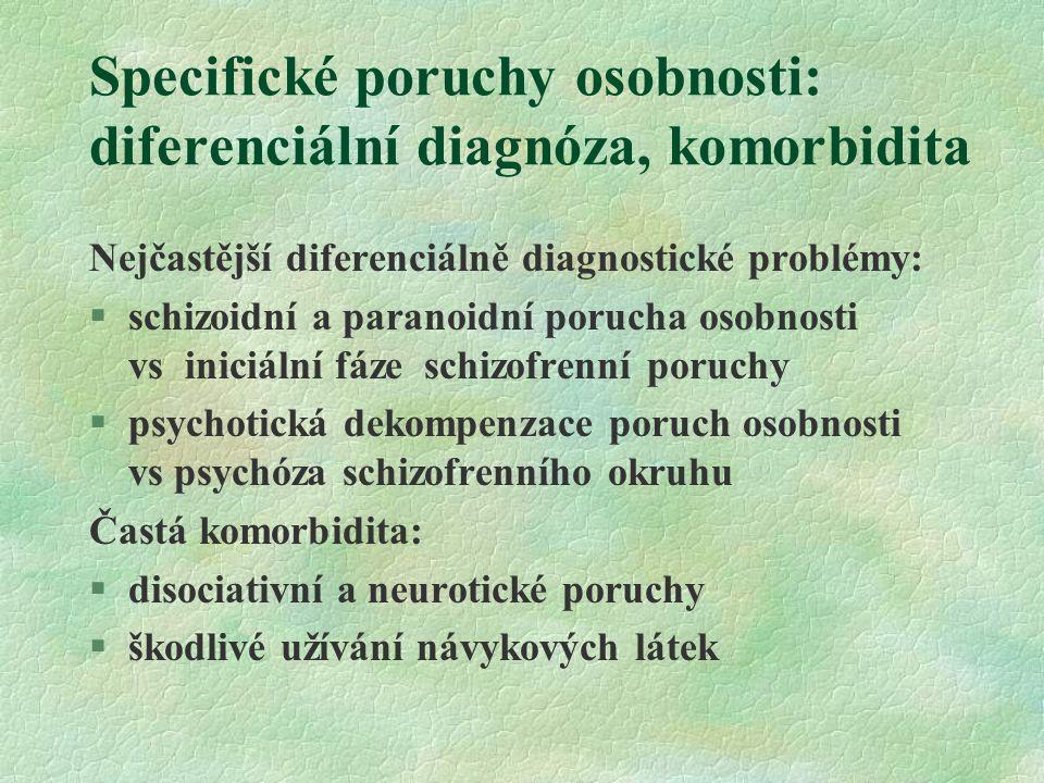 Specifické poruchy osobnosti: diferenciální diagnóza, komorbidita