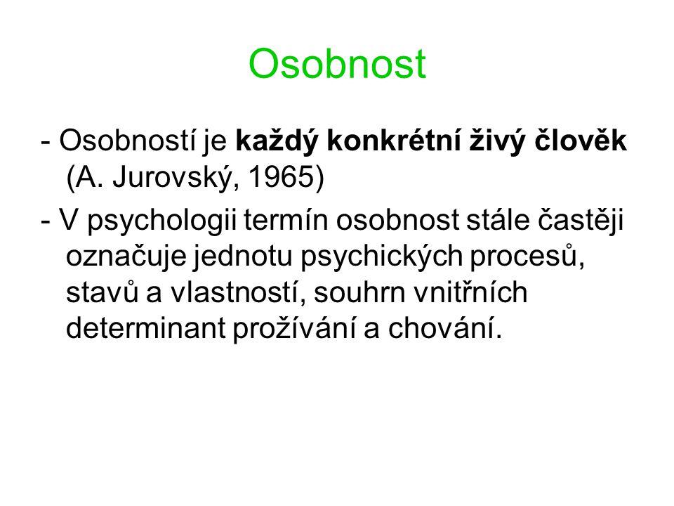 Osobnost - Osobností je každý konkrétní živý člověk (A. Jurovský, 1965)