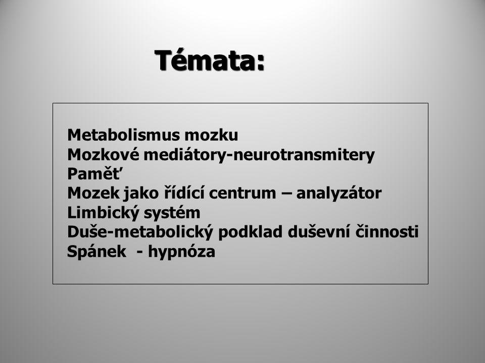 Témata: Metabolismus mozku Mozkové mediátory-neurotransmitery Paměť
