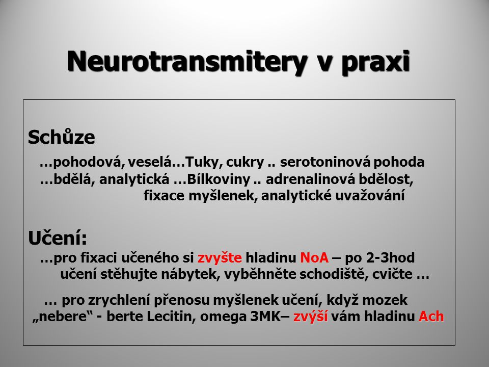 Neurotransmitery v praxi