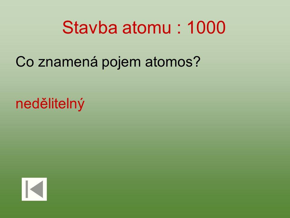 Stavba atomu : 1000 Co znamená pojem atomos nedělitelný