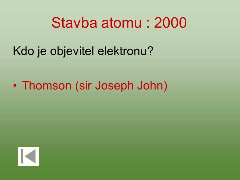 Stavba atomu : 2000 Kdo je objevitel elektronu