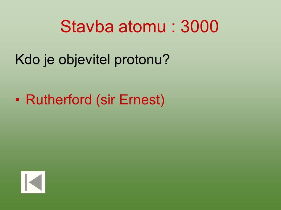 Stavba atomu : 3000 Kdo je objevitel protonu Rutherford (sir Ernest)