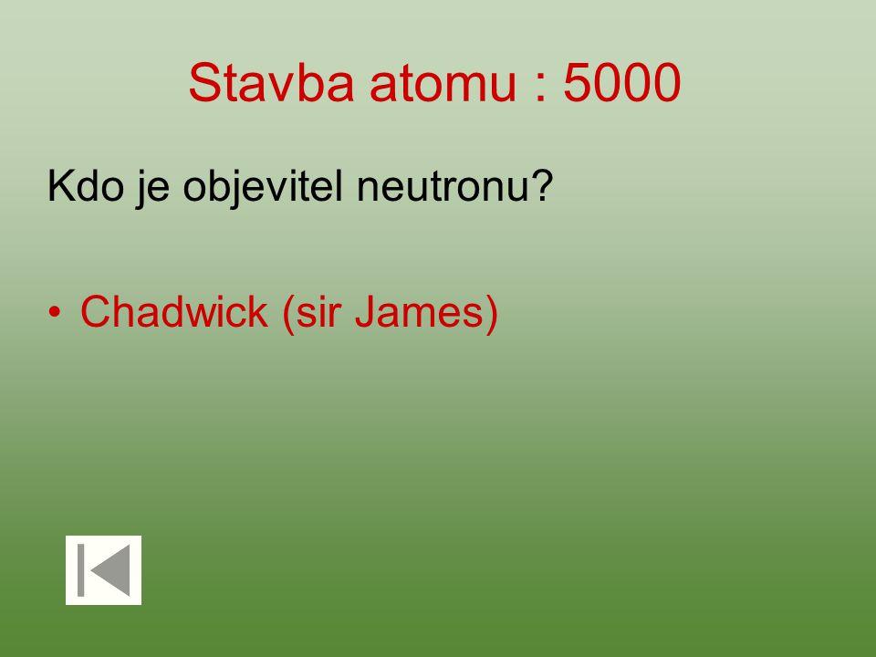 Stavba atomu : 5000 Kdo je objevitel neutronu Chadwick (sir James)