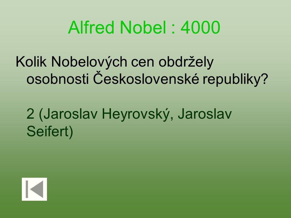 Alfred Nobel : 4000 Kolik Nobelových cen obdržely osobnosti Československé republiky.