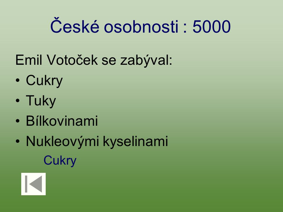 České osobnosti : 5000 Emil Votoček se zabýval: Cukry Tuky Bílkovinami