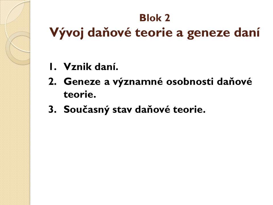 Blok 2 Vývoj daňové teorie a geneze daní