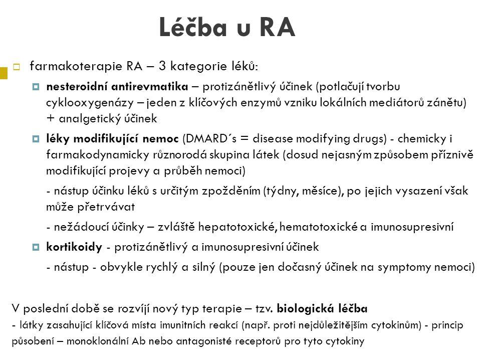 Léčba u RA farmakoterapie RA – 3 kategorie léků: