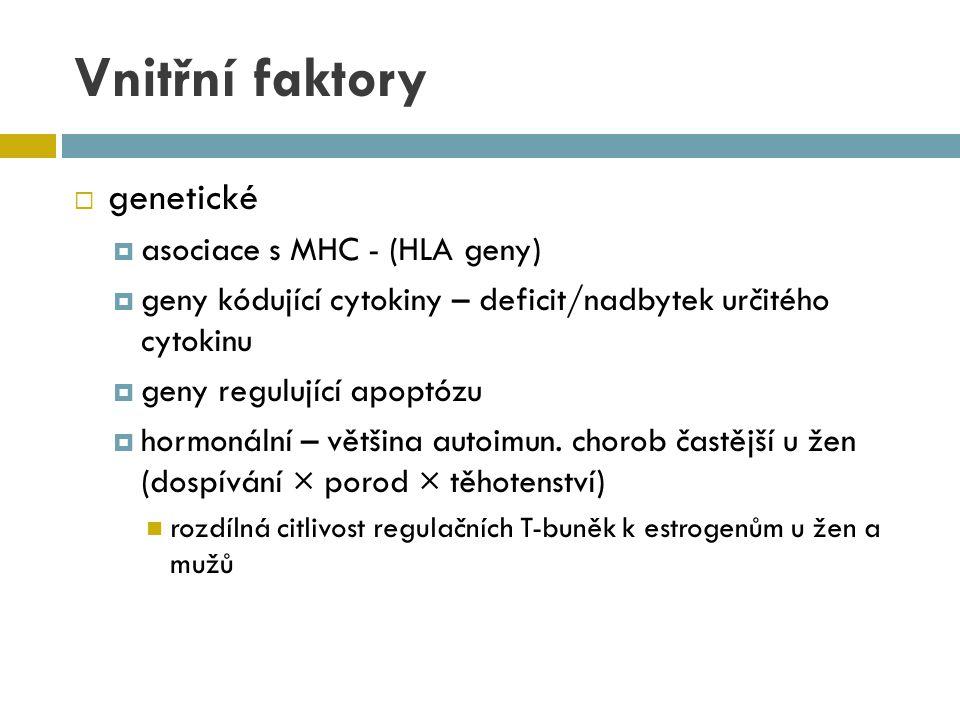 Vnitřní faktory genetické asociace s MHC - (HLA geny)