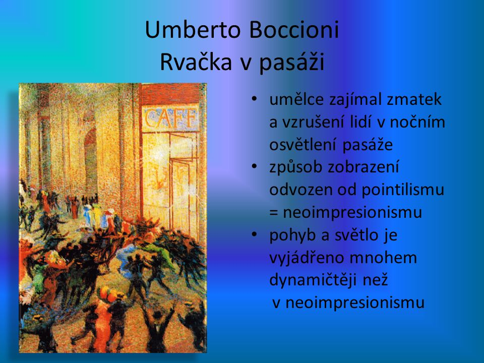 Umberto Boccioni Rvačka v pasáži