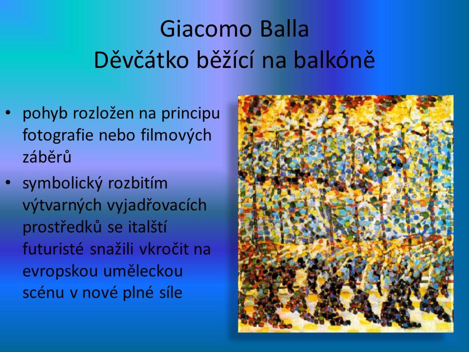 Giacomo Balla Děvčátko běžící na balkóně