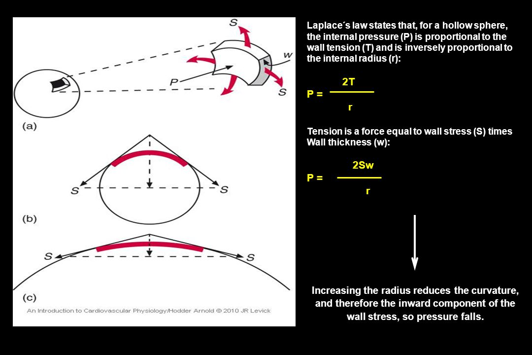 P = r Increasing the radius reduces the curvature,