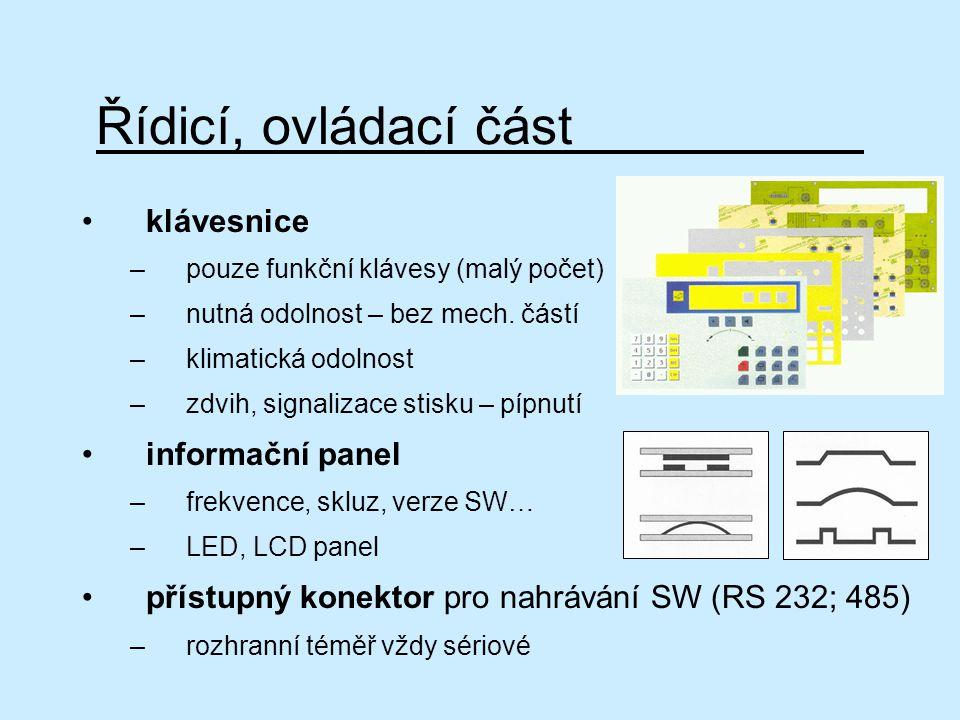 Řídicí, ovládací část klávesnice informační panel