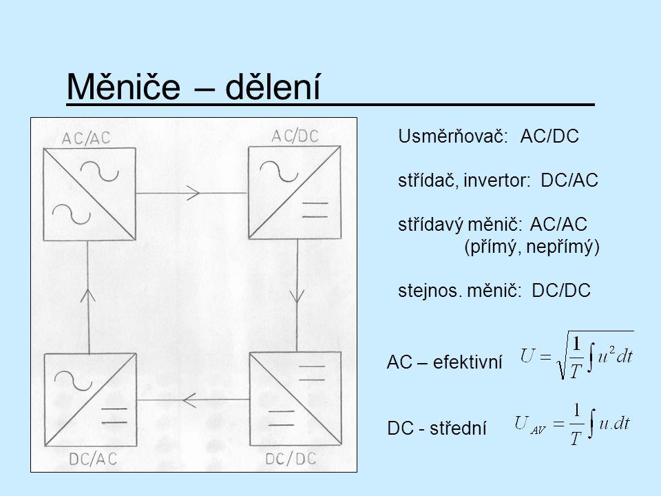 Měniče – dělení Usměrňovač: AC/DC střídač, invertor: DC/AC