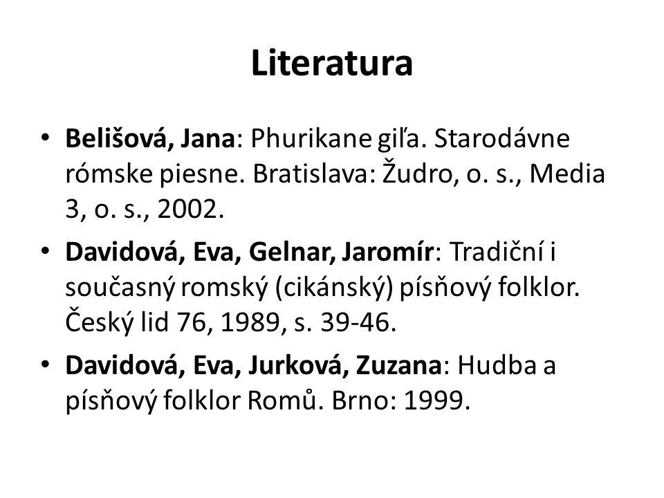 Literatura Belišová, Jana: Phurikane giľa. Starodávne rómske piesne. Bratislava: Žudro, o. s., Media 3, o. s., 2002.