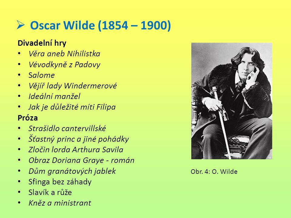 Oscar Wilde (1854 – 1900) Divadelní hry Věra aneb Nihilistka