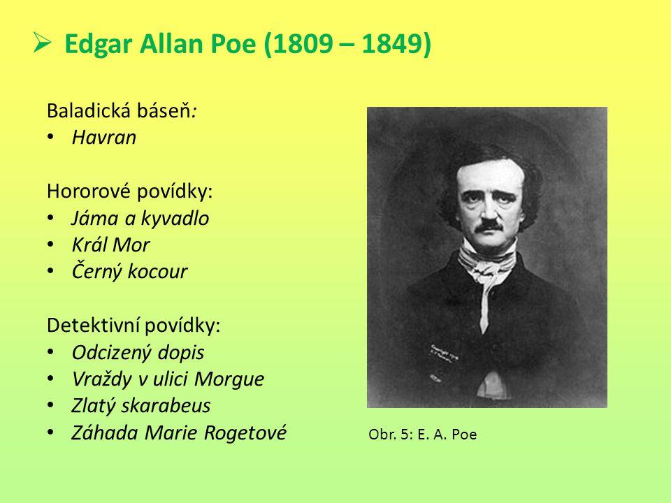 Edgar Allan Poe (1809 – 1849) Baladická báseň: Havran