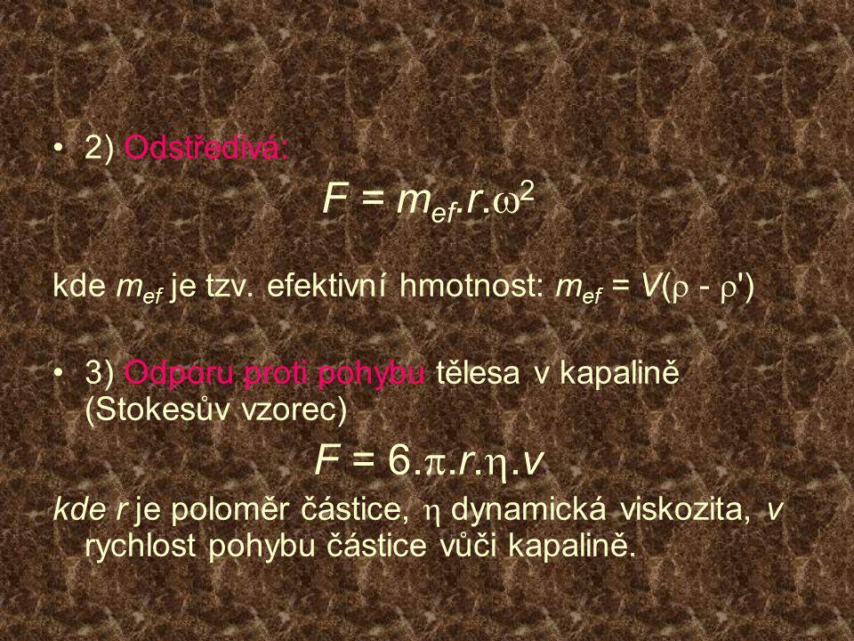 F = mef.r.w2 F = 6.p.r.h.v 2) Odstředivá: