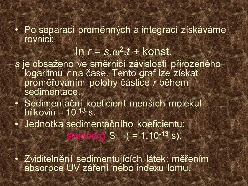 Po separaci proměnných a integraci získáváme rovnici: