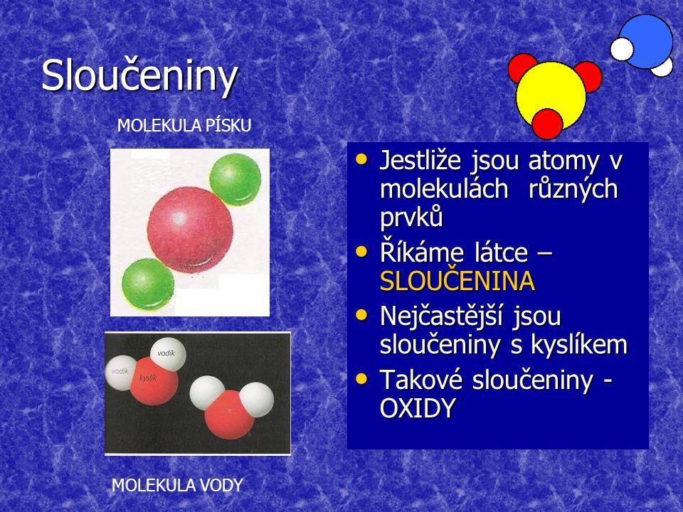 Sloučeniny Jestliže jsou atomy v molekulách různých prvků