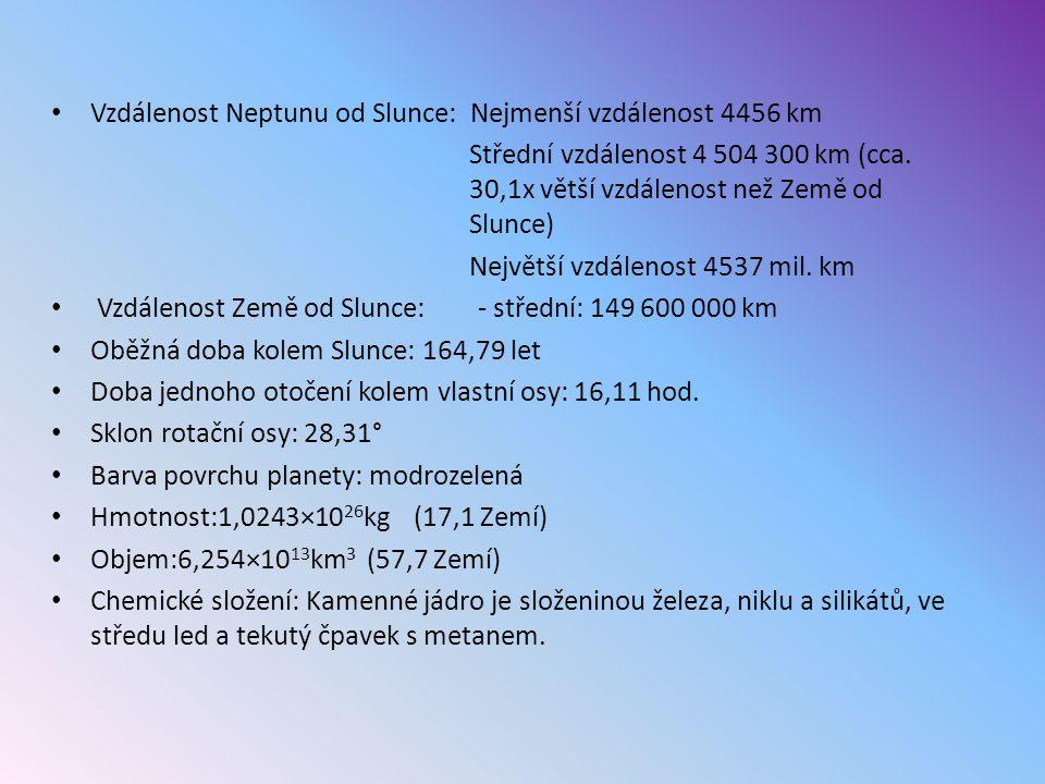 Vzdálenost Neptunu od Slunce: Nejmenší vzdálenost 4456 km