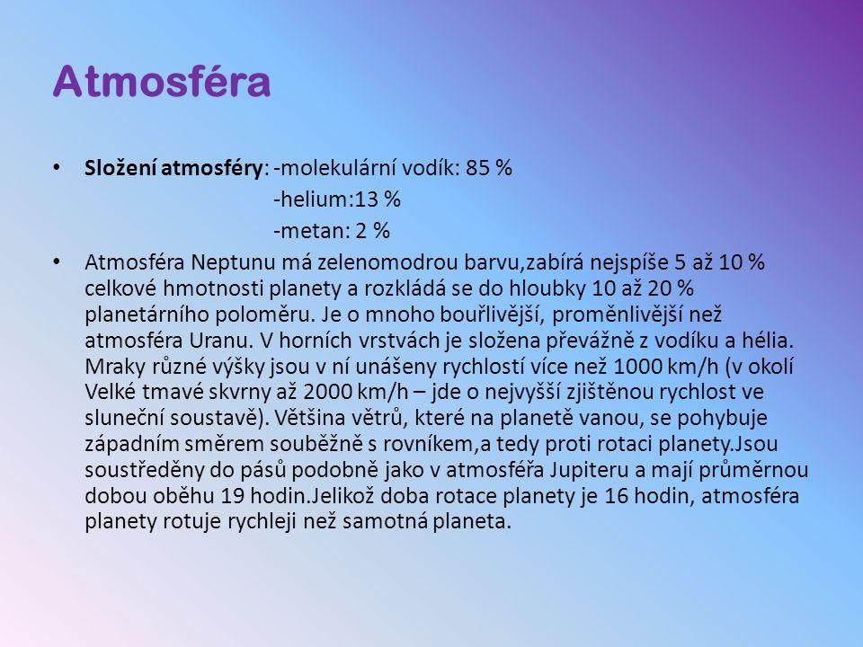 Atmosféra Složení atmosféry: -molekulární vodík: 85 % -helium:13 %