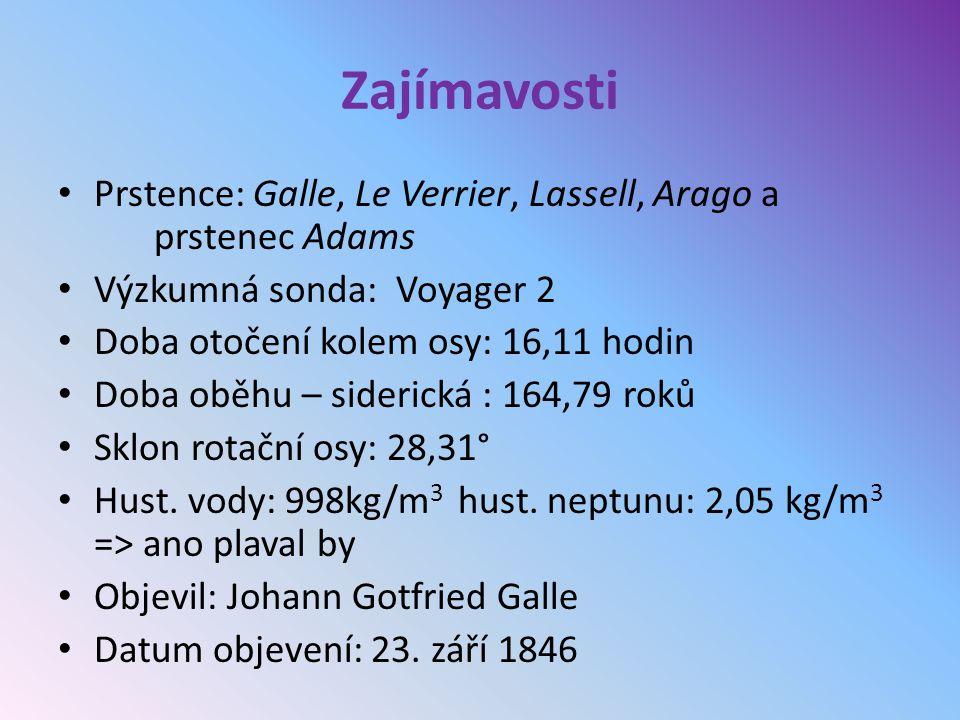 Zajímavosti Prstence: Galle, Le Verrier, Lassell, Arago a prstenec Adams. Výzkumná sonda: Voyager 2