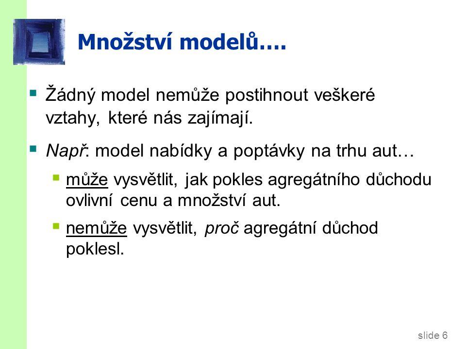 Množství modelů… Při studiu mnoha odlišných problémů (např, nezaměstnanost, inflace, dlouhodobý růst) používáme mnoho odlišných modelů.