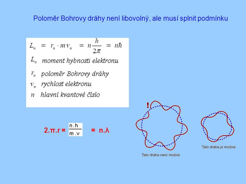 Poloměr Bohrovy dráhy není libovolný, ale musí splnit podmínku