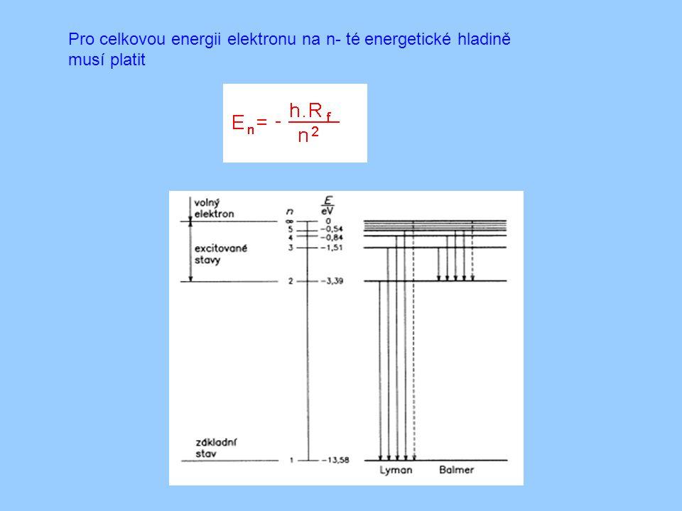 Pro celkovou energii elektronu na n- té energetické hladině musí platit