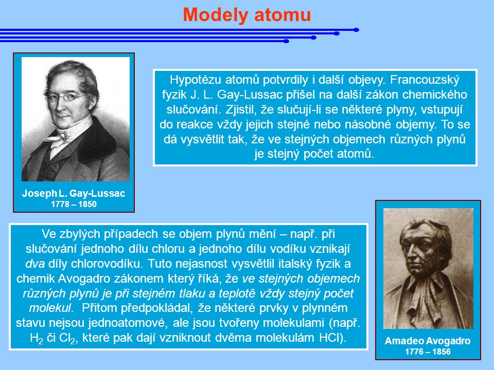 Modely atomu Joseph L. Gay-Lussac. 1778 – 1850.