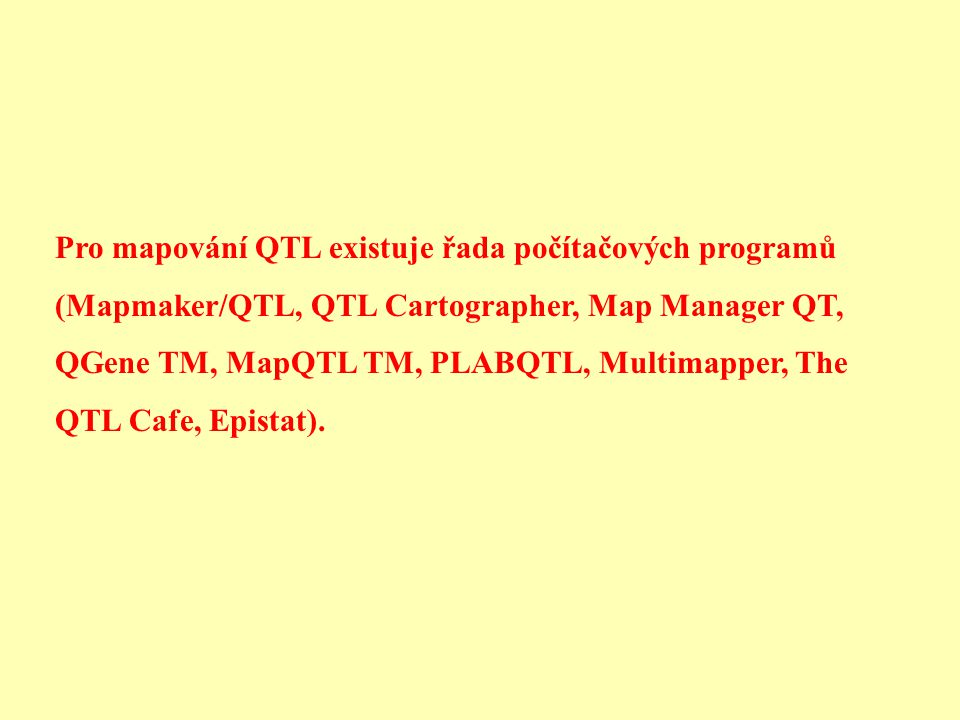 Pro mapování QTL existuje řada počítačových programů (Mapmaker/QTL, QTL Cartographer, Map Manager QT, QGene TM, MapQTL TM, PLABQTL, Multimapper, The QTL Cafe, Epistat).