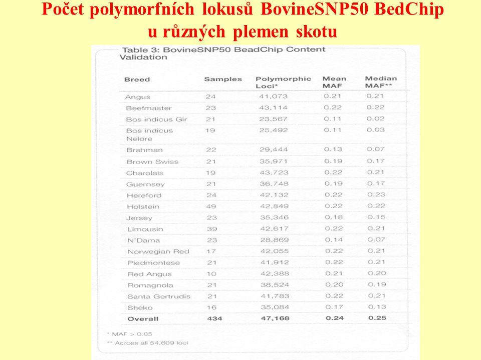 Počet polymorfních lokusů BovineSNP50 BedChip u různých plemen skotu