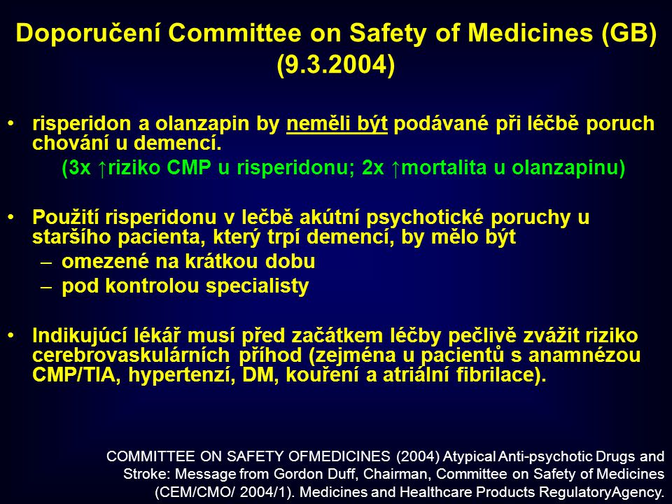 Doporučení Committee on Safety of Medicines (GB)