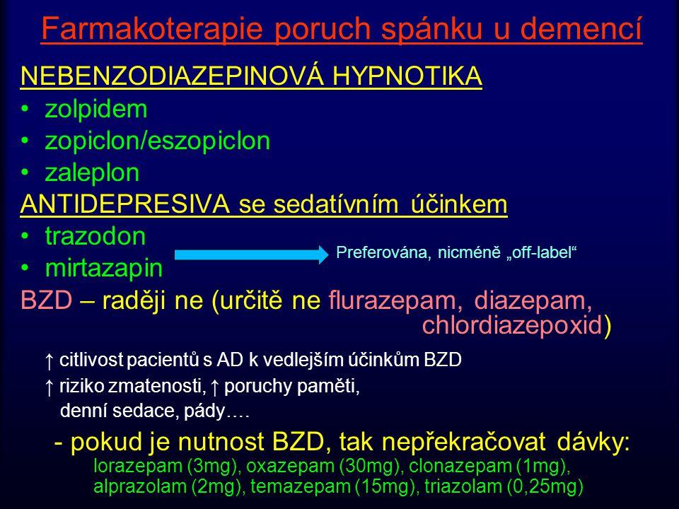 Farmakoterapie poruch spánku u demencí