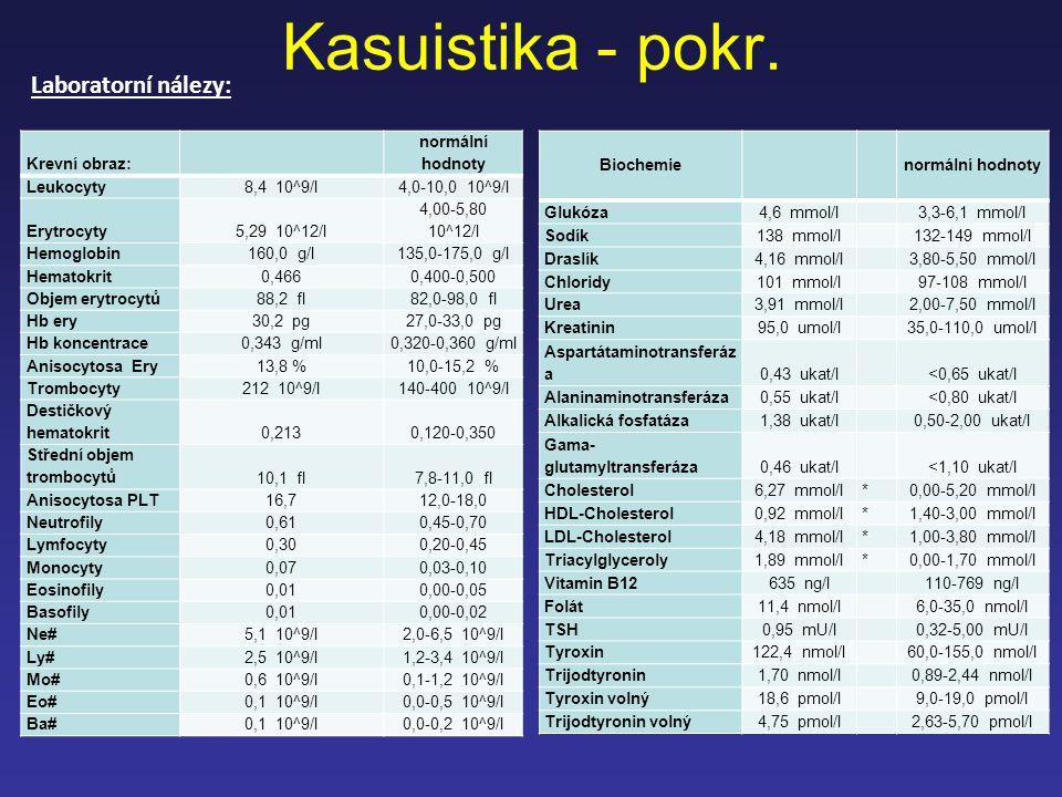 Kasuistika - pokr. Laboratorní nálezy: Krevní obraz: normální hodnoty