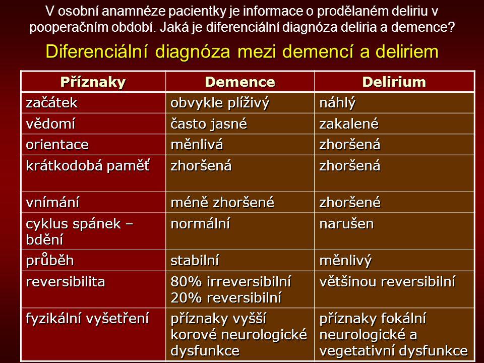 Diferenciální diagnóza mezi demencí a deliriem